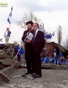 Rabbi Israel Meir Lau and Elie Wiesel participate in the first March of the Living in Auschwitz-Birkenau on Holocaust Remembrance Day 1988.