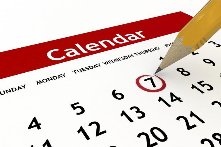 Calendar with 7 Circled