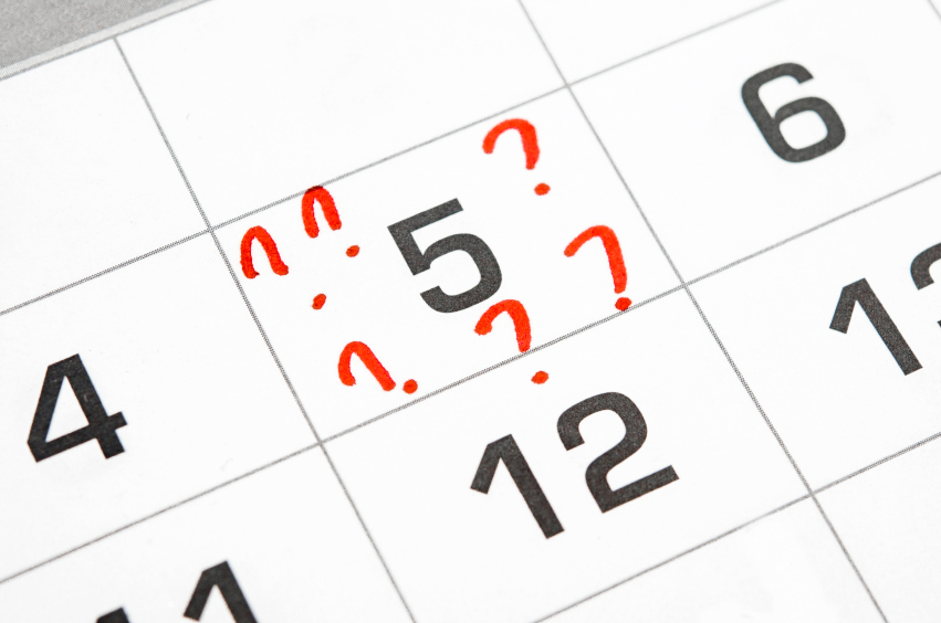 question marks on the calendar at 5.