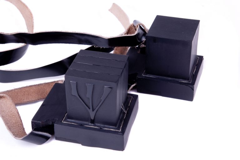 Tefillin or Teffilin (Phylacteries) worn by Jewish Men every morning.