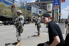National Guard on the streets of Baltimore (National Guard).