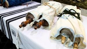 The newly returned Torahs.