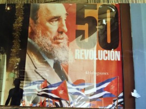 Posters celebrating the 50th anniversary of the revolution. (Miriam Bradman Abrahams)