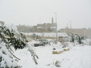The holy city under a blanket of snow