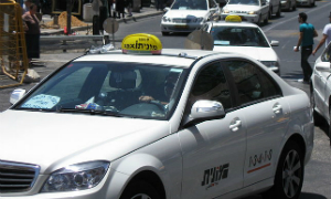 A familiar site in Jerusalem - taxi-lined streets