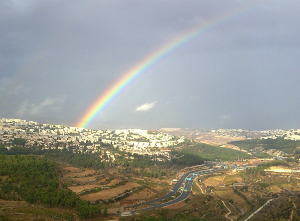 A rainbow over the hills of Jerusalem