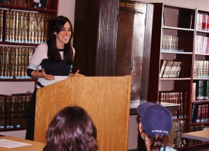 Shoshana leading a class at the Queens College Hillel's new Beit Meidrash. (Shoshana Charnoff)