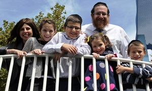 The Boshnack family (from left): Shira, Gitty, Levi, Rabbi Reuven, Chumie and Shimmy.