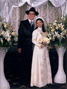 Wedding photo of Rabbi Reuven Boshnack and Shira Dubin,  Long Island NCSY Region, October 25, 1998.