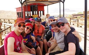 YBY participants on a train ride through Calico Ghost Town,  an old West mining town in California.