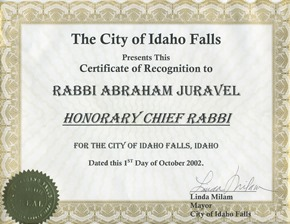 Chief Rabbi Idaho Falls certificate