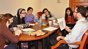 HaMidrasha@QC student team during one of their many planning and brain storm sessions.  Photo credit: Shoshana Charnoff