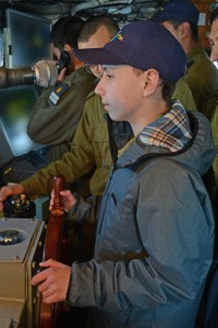 Roey guiding the INS Jaffa.