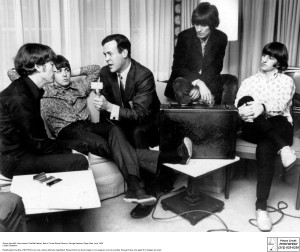 Shown from left: John Lennon, Paul McCartney, Bruce 'Cousin Brucie' Morrow, George Harrison, Ringo Starr, circa 1965
