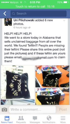 The Facebook post seeking the rightful tefillin owners